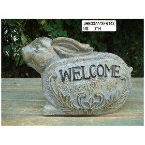 Resin rabbit Welcome Sign